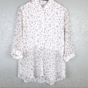 Zara White Blouse with red and blue pattern